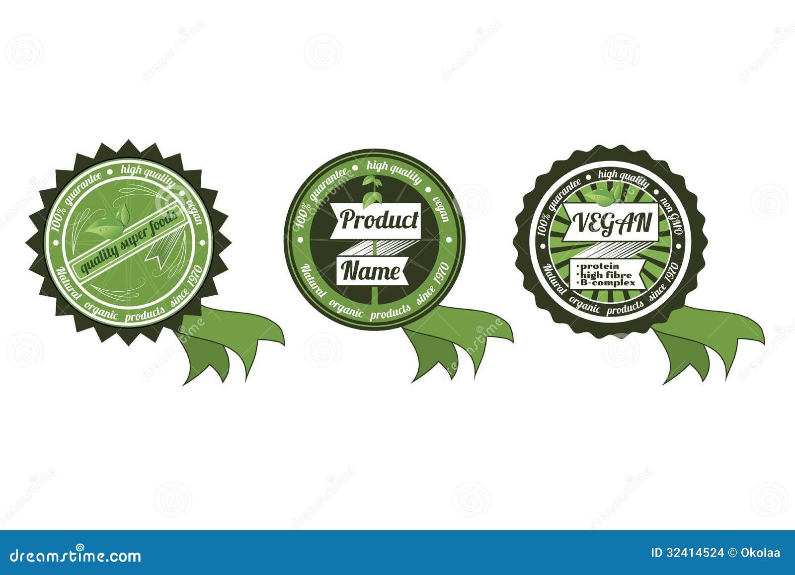 Three organicnon gmoeco badges with ribbon stock vector royalty free stock photo buycottarizona Images
