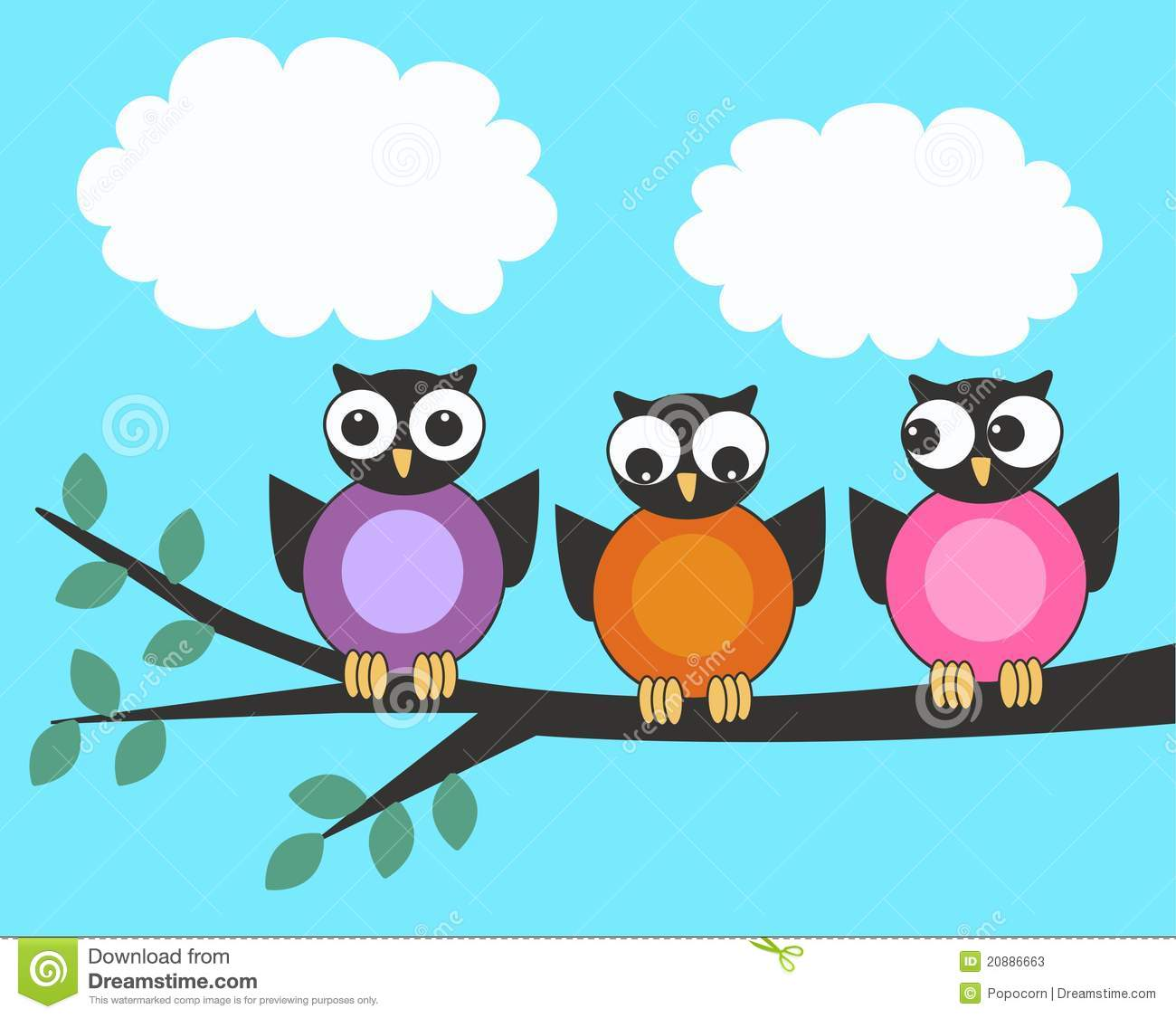 Three owls stock vector  Illustration of branch, communicate