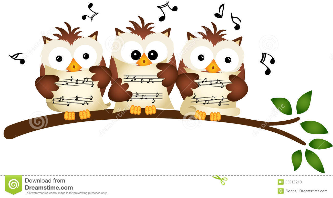 ... image representing a three owls choir singing, isolated on white