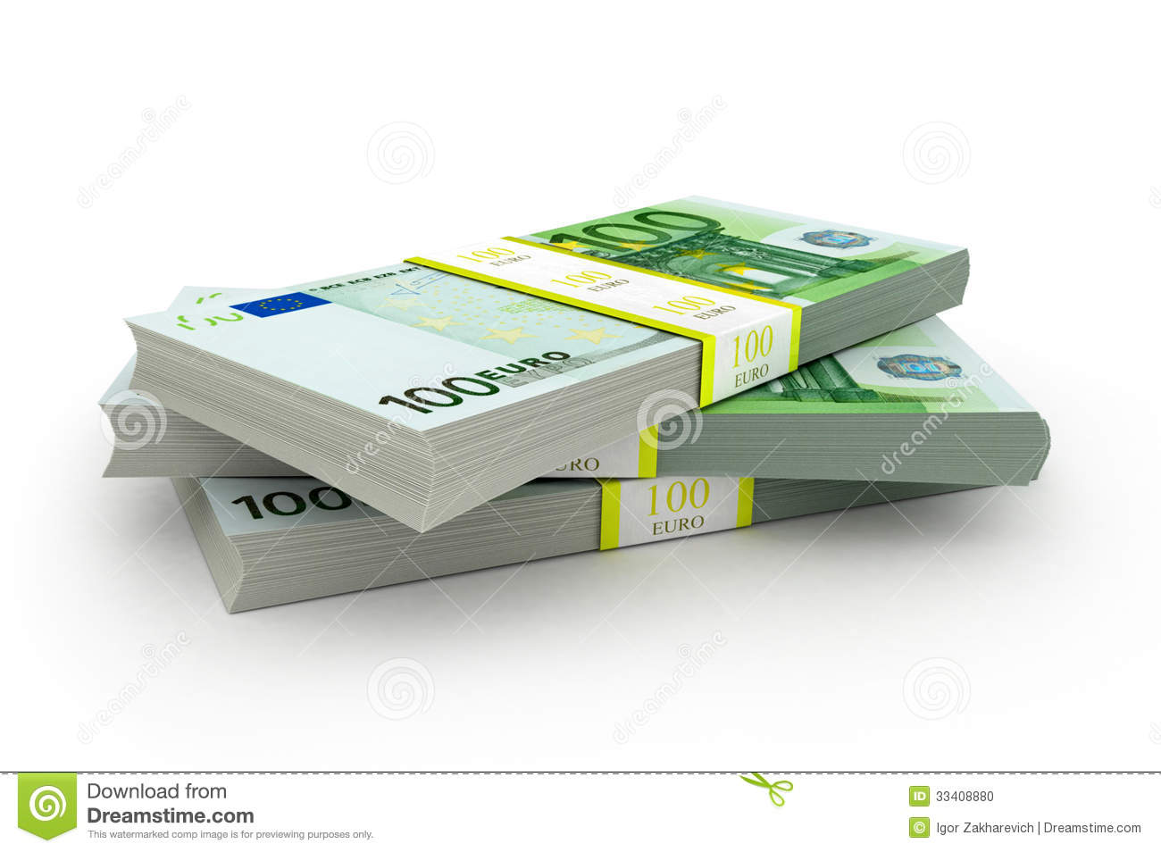 Three packet of 100 euro notes stock illustration image for Canape a 100 euros