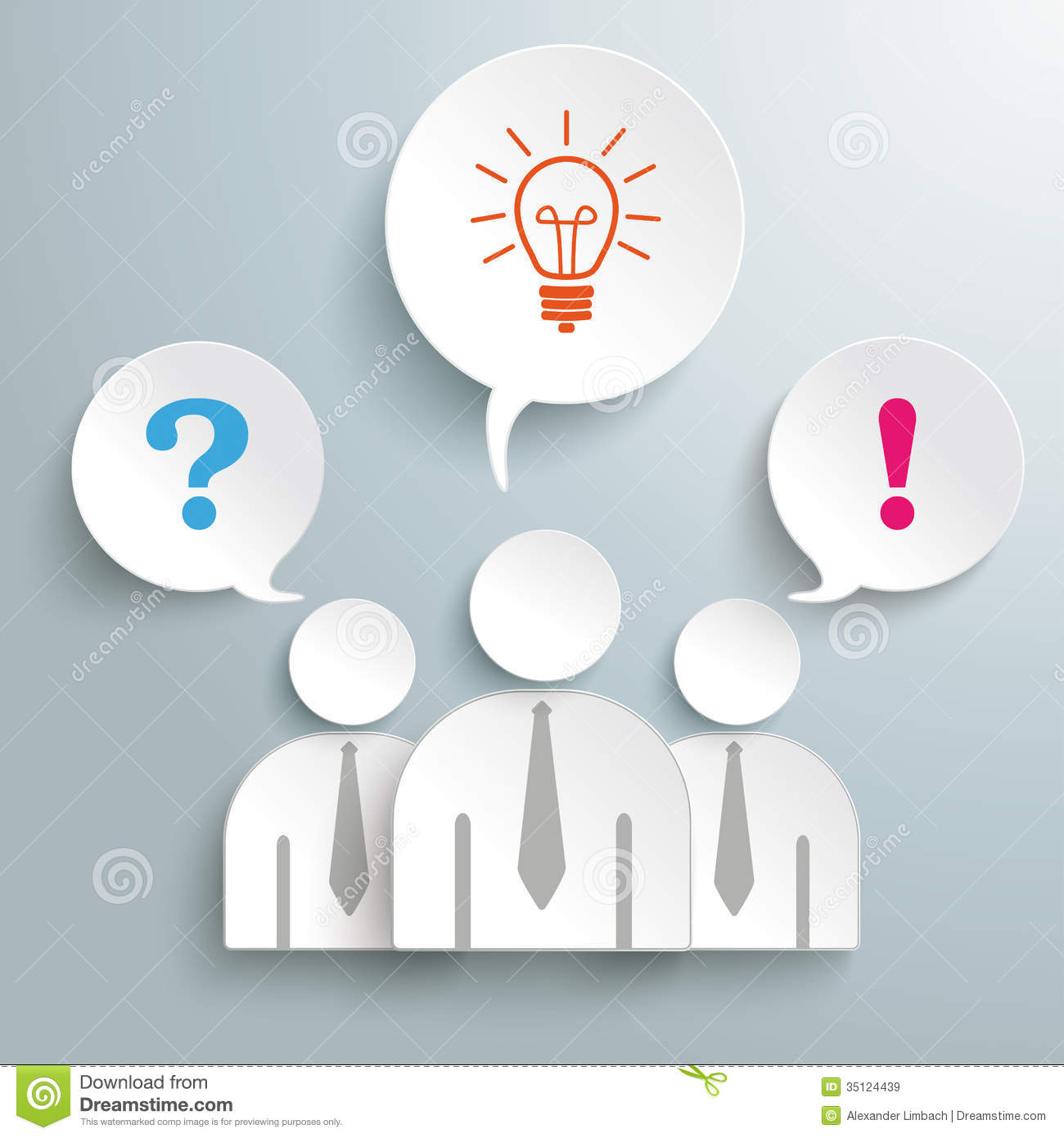 Infographic design on the grey background eps 10 vector file - Three Paper Humans Questions Idea Confirmation Pia Royalty