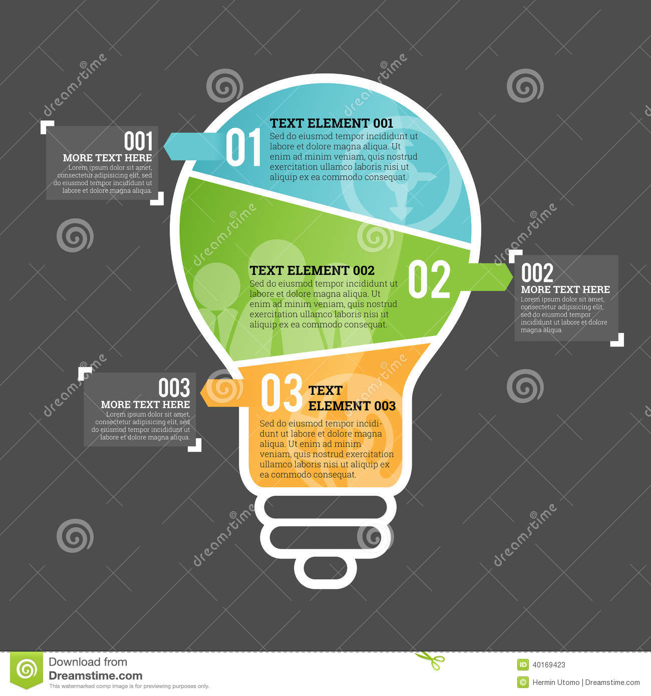 Three Part Bulb Infographic Element Stock Vector