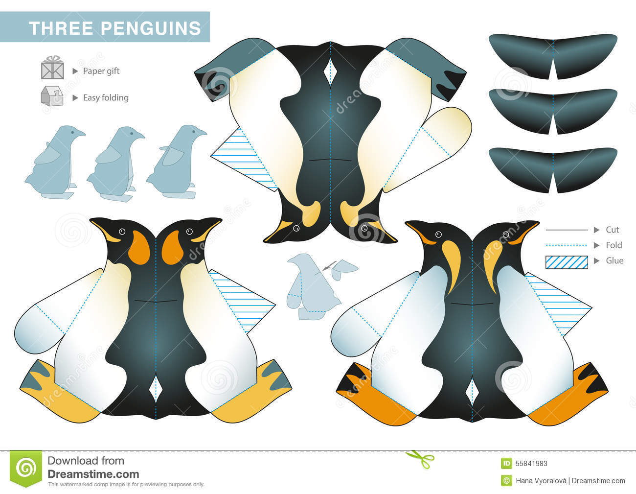 three penguins stock vector illustration of puppet paper 55841983