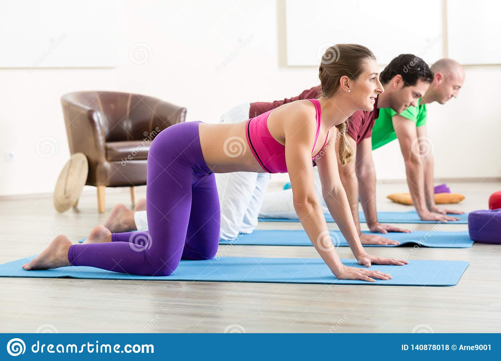 Three People Practicing Yoga Pose Stock Photo Image Of Couple Healthy 140878018