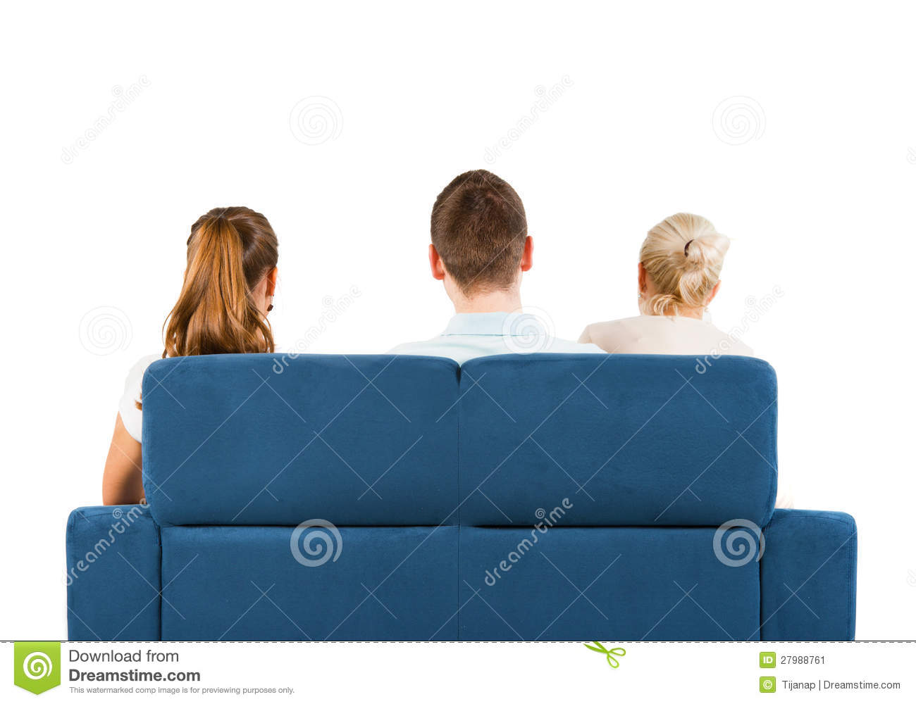 Three people sitting on a sofa back stock image image for 3 on a couch
