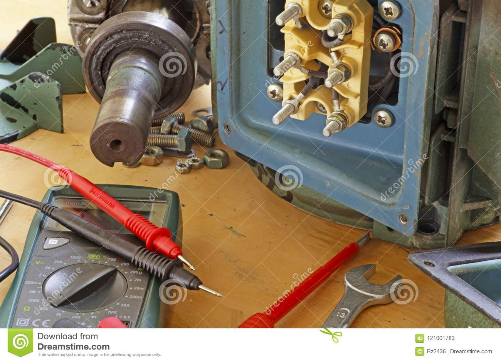 Three Phase Induction Motor Bearing Repair Stock Image