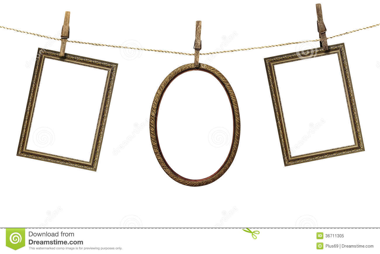 three picture frame hanging on clothespins isolated on white bac
