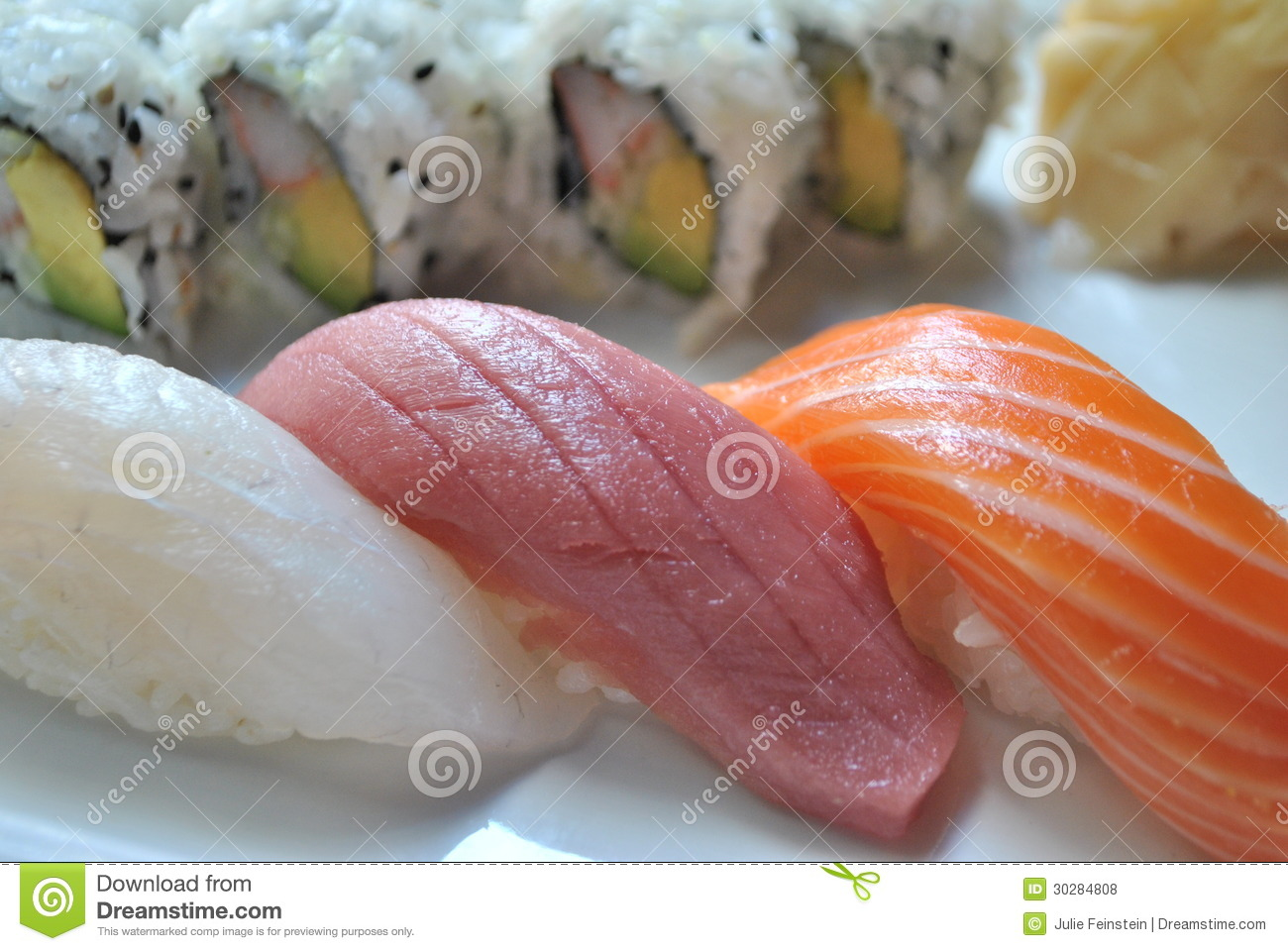 Nigiri sushi royalty free stock photos image 30284808 for Yellowtail fish sushi