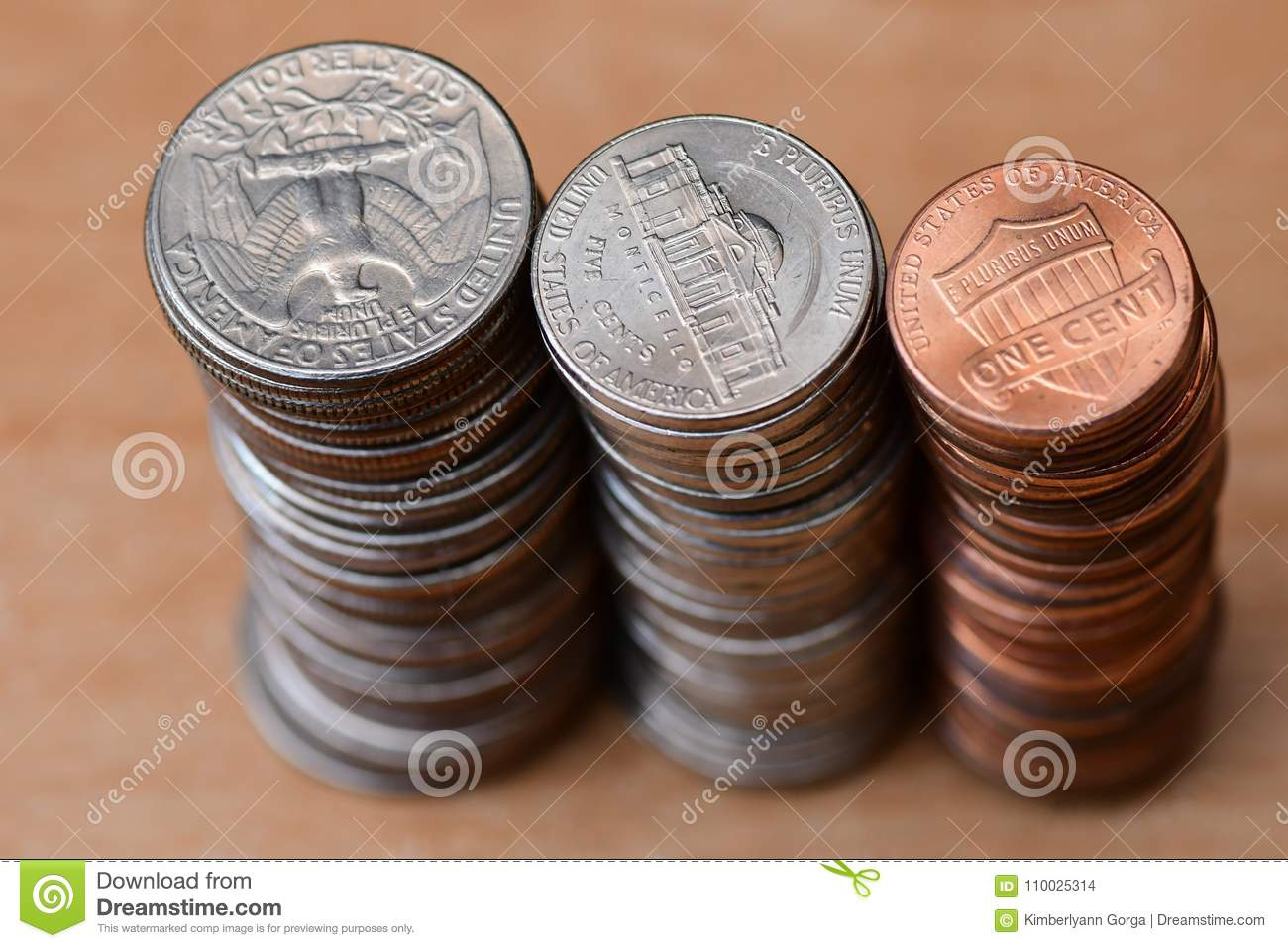 Three piles of coins