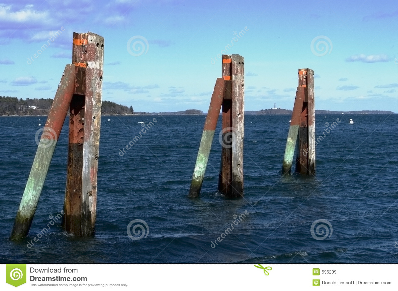 Three Pilings Royalty Free Stock Images Image 596209