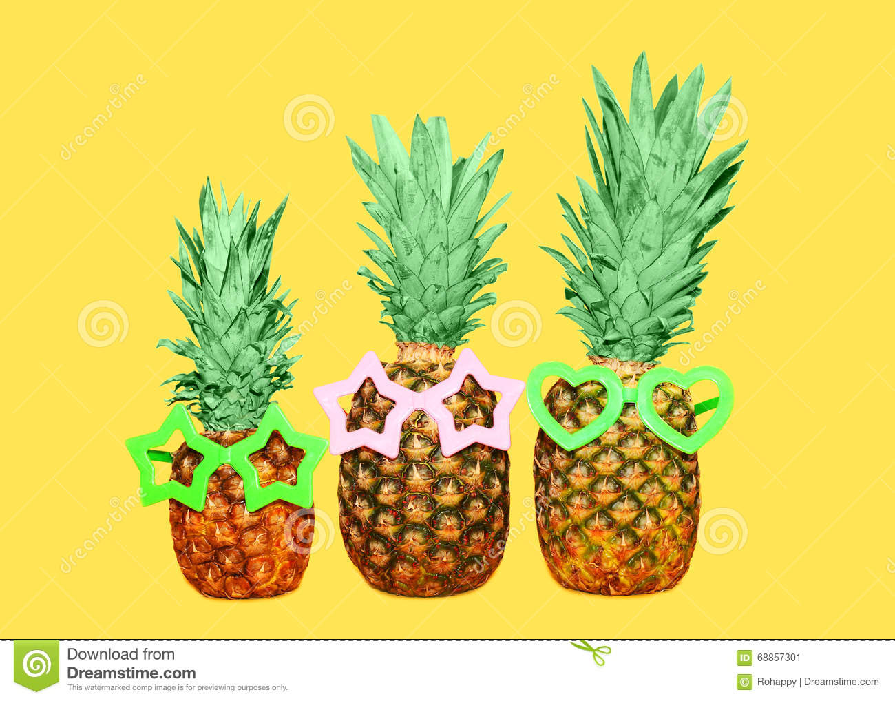 colorful pineapple background. royalty-free stock photo. download three pineapple and sunglasses on yellow background, colorful background
