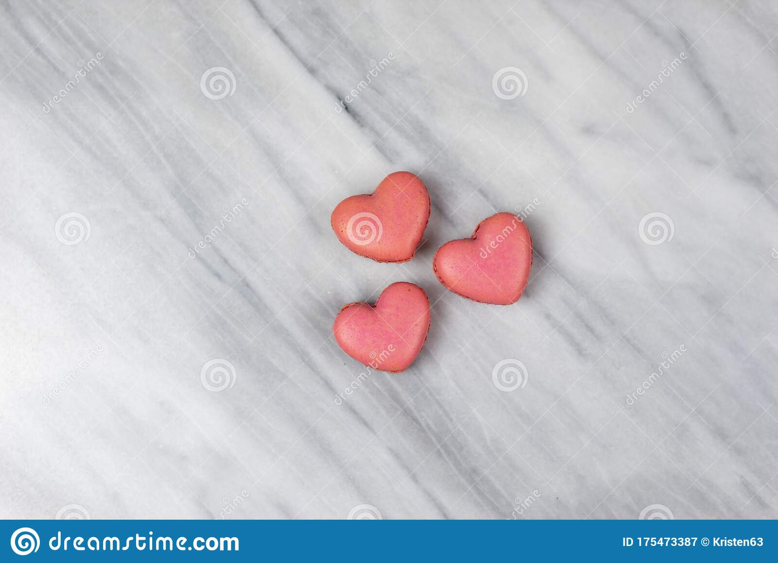Three Pink Heart Shaped Macaroons On A Marble Background Stock Image Image Of Romance Cake 175473387