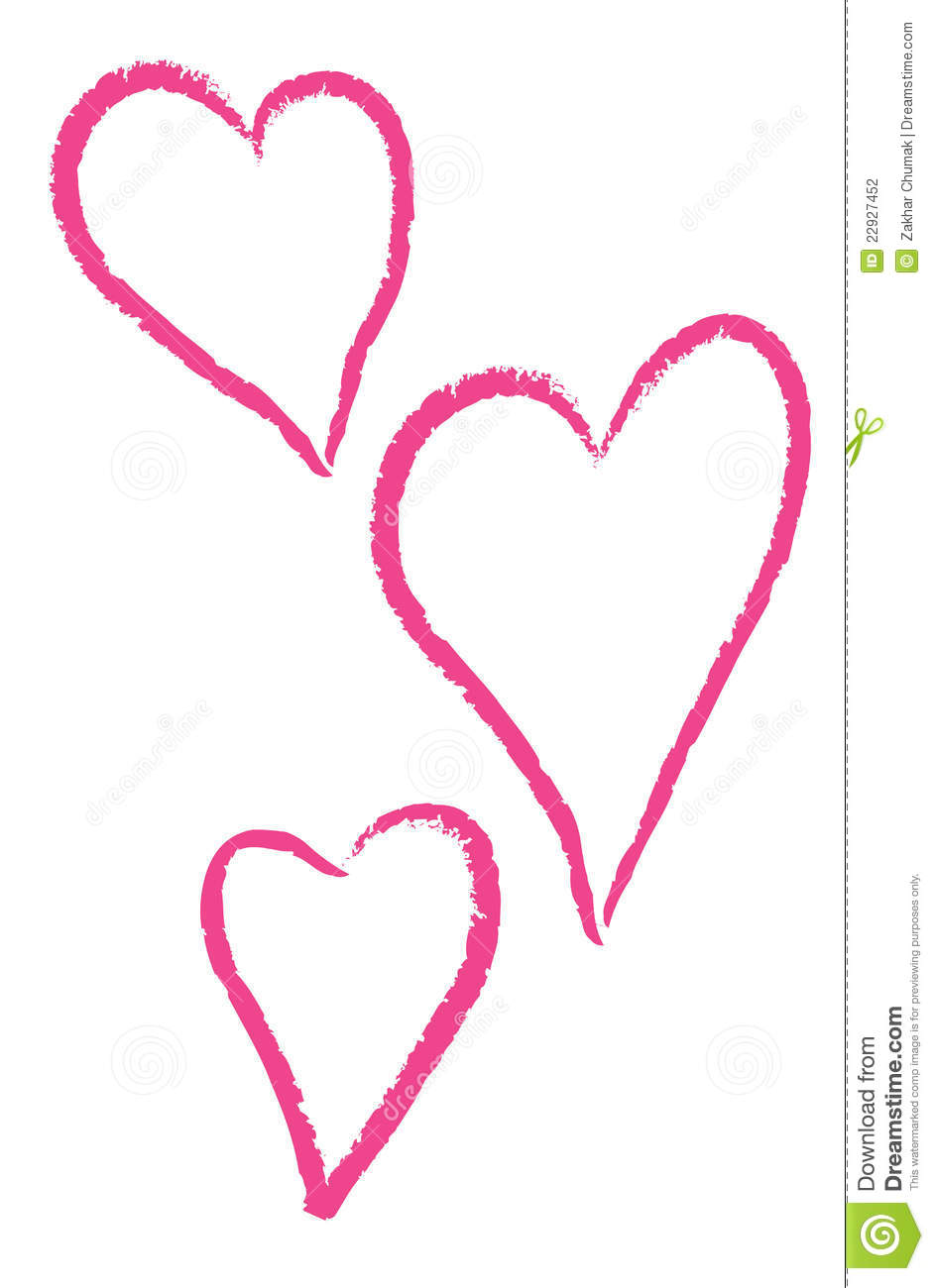 Three Pink Hearts On A White Background Stock Photography