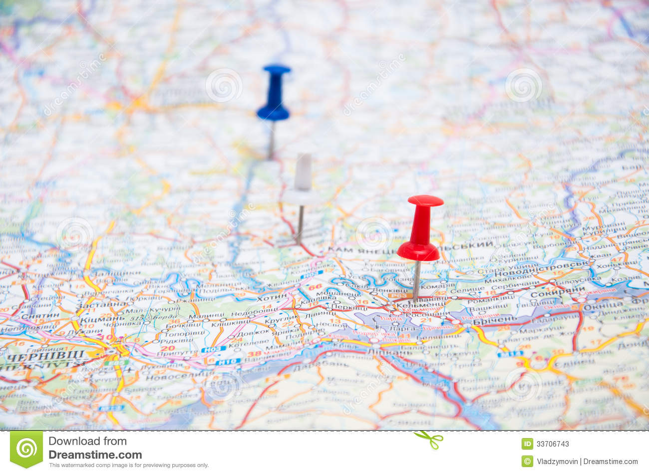 three pins on a map stock image image of journey position 33706743