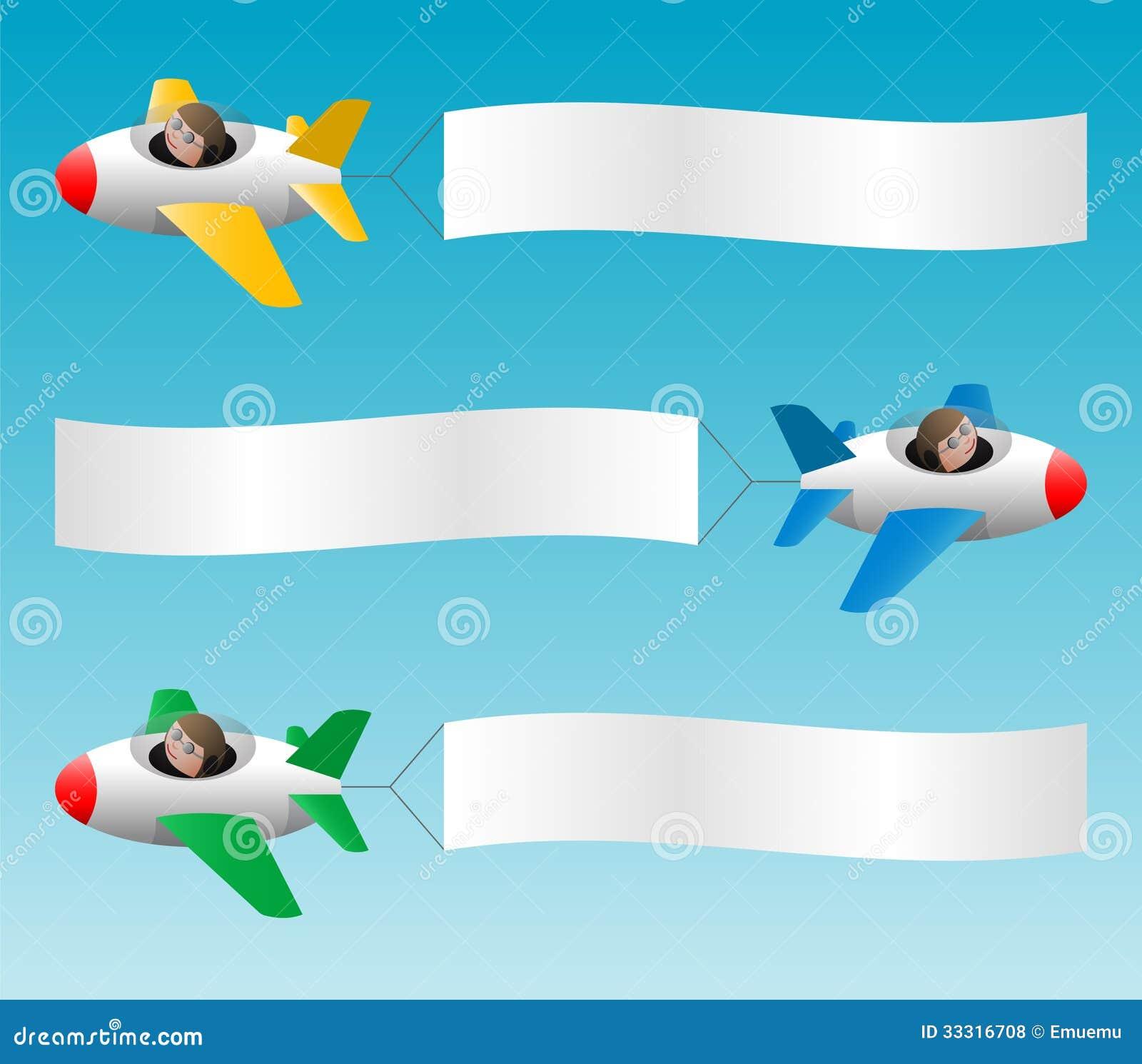 Three Planes Pull Banners Stock Vector Illustration Of Cartoon
