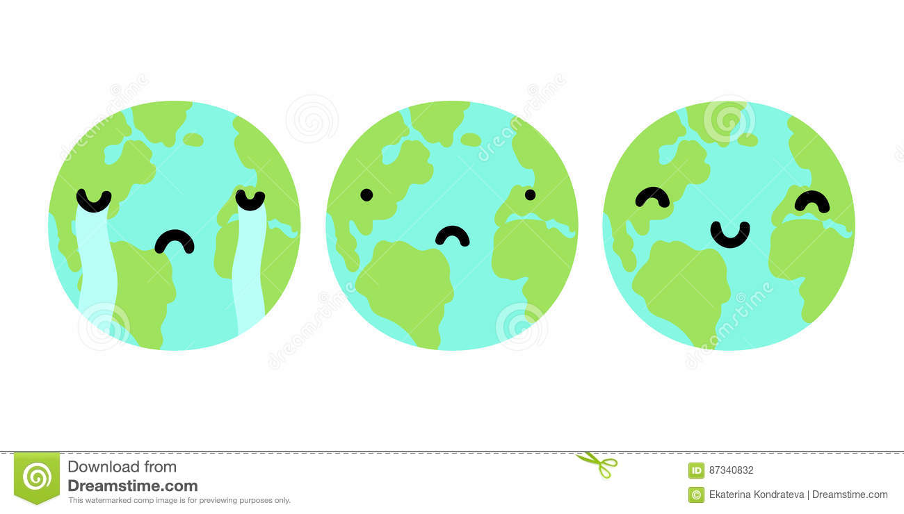 Three Planets Earth With Different Faces. Stock Vector ...