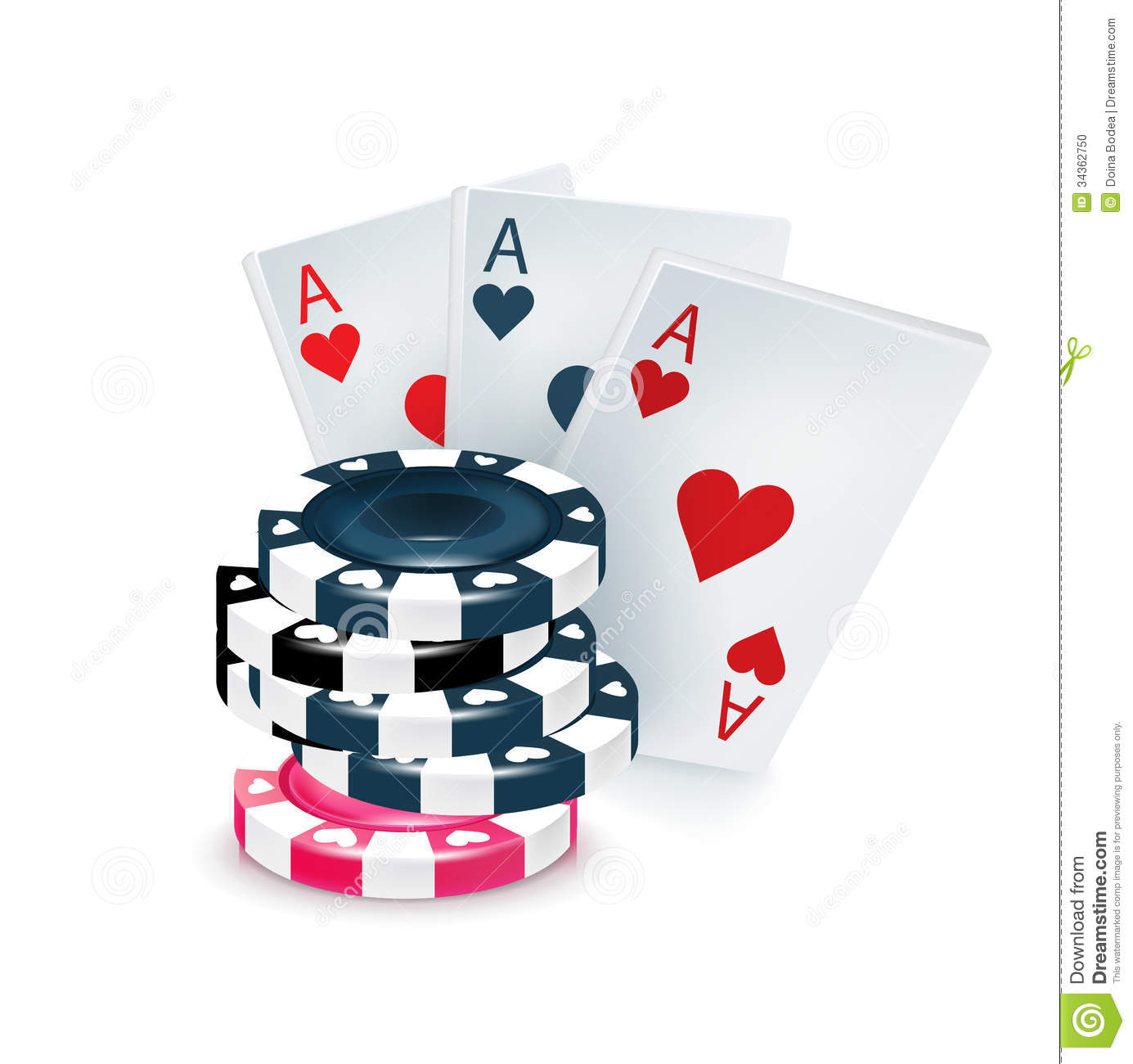 Three Playing Cards With Poker Chips Isolated Stock Vector
