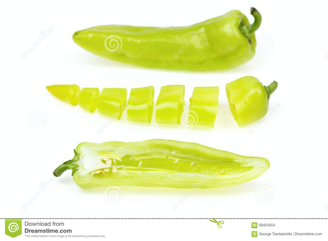 Three pointy green pepper