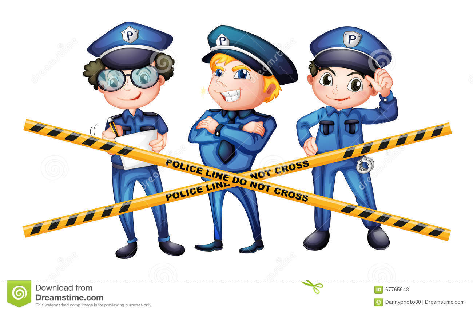 three policemen at the crime scene stock vector image 67765643