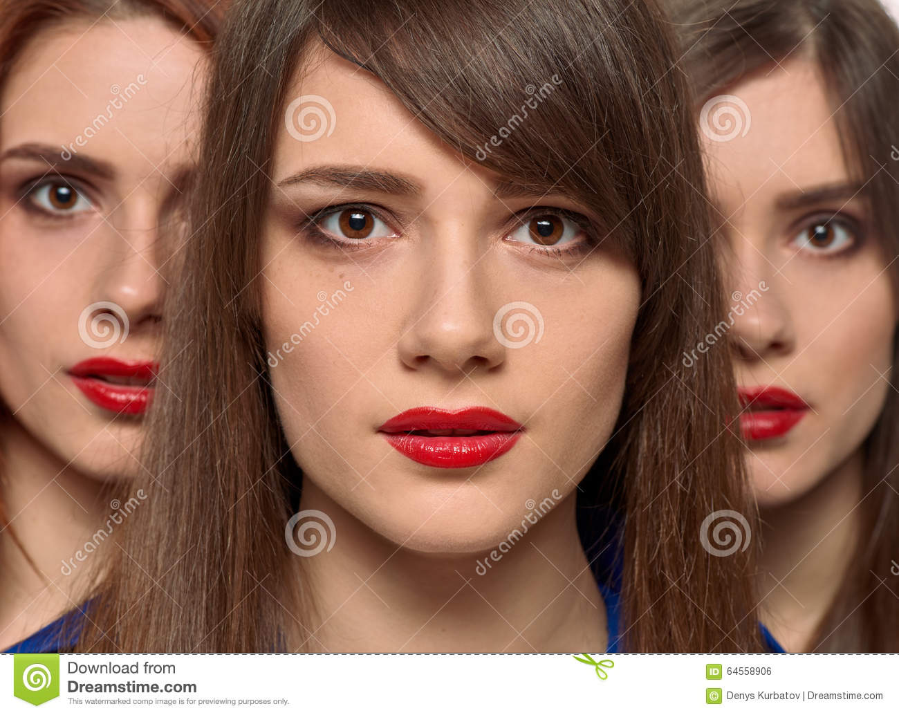 three pretty women faces. triplets sisters stock photo - image of