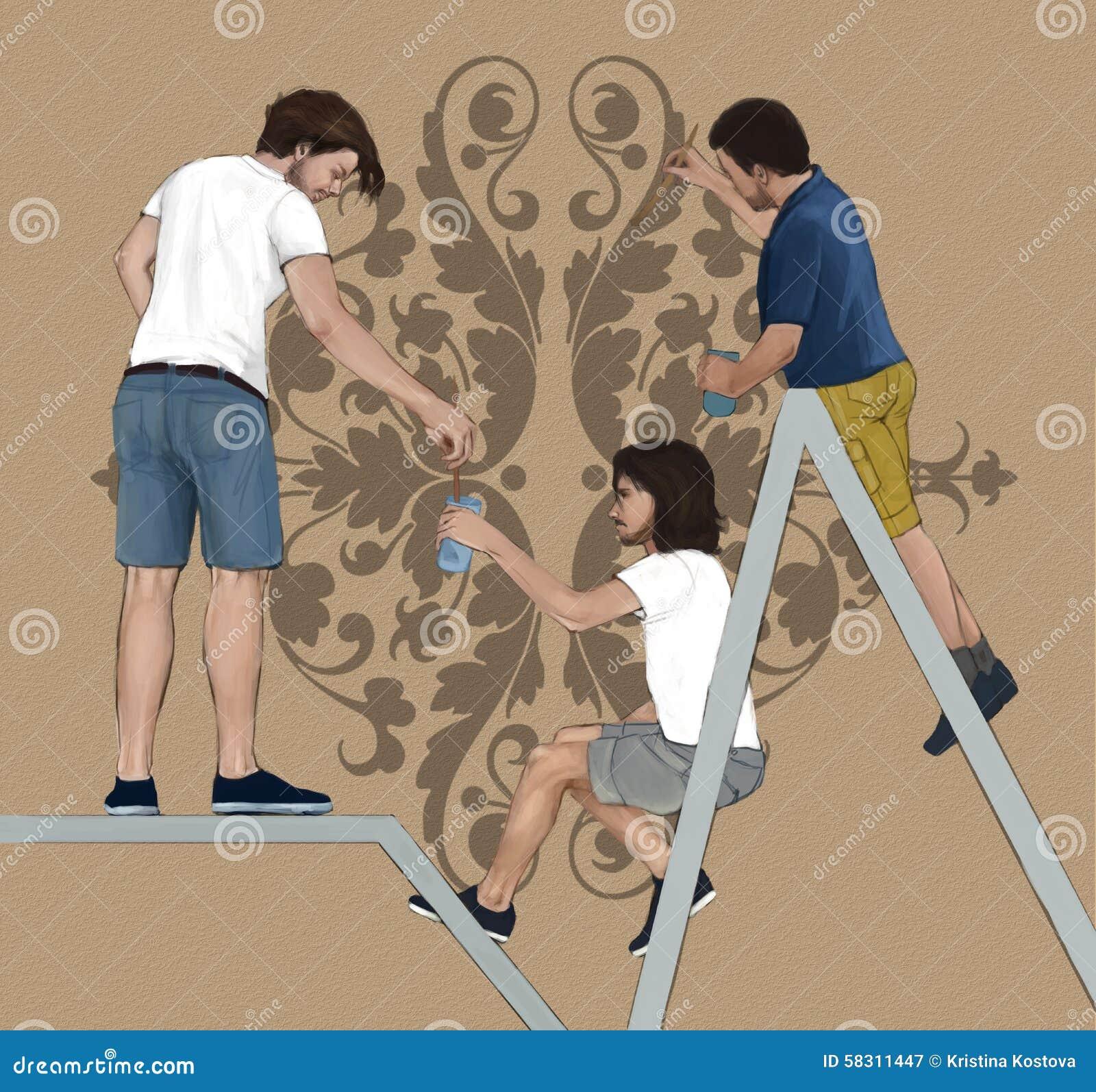 Decorators cartoons illustrations vector stock images for Professional decorator