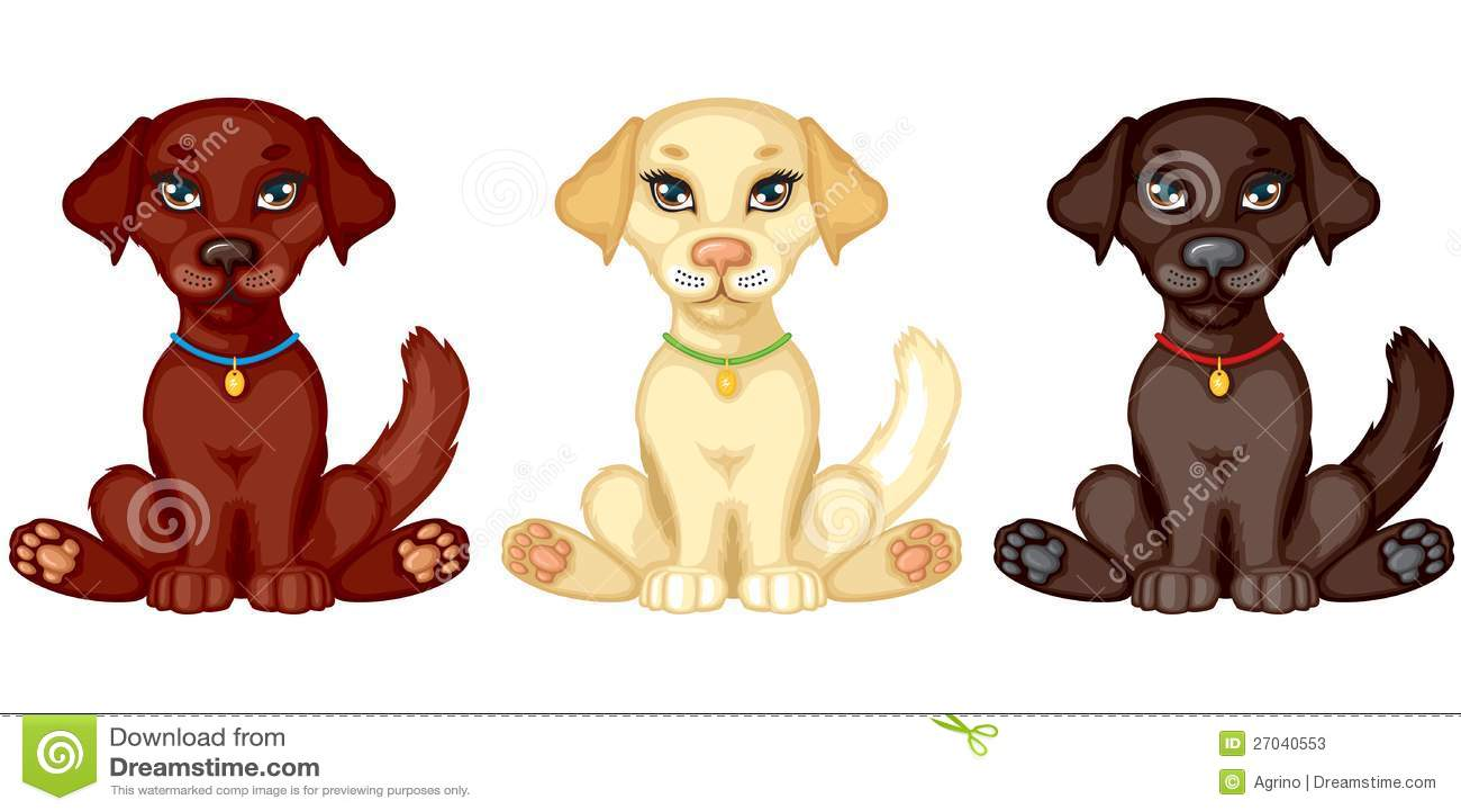 Three Puppies Stock Vector Illustration Of Black Cute 27040553