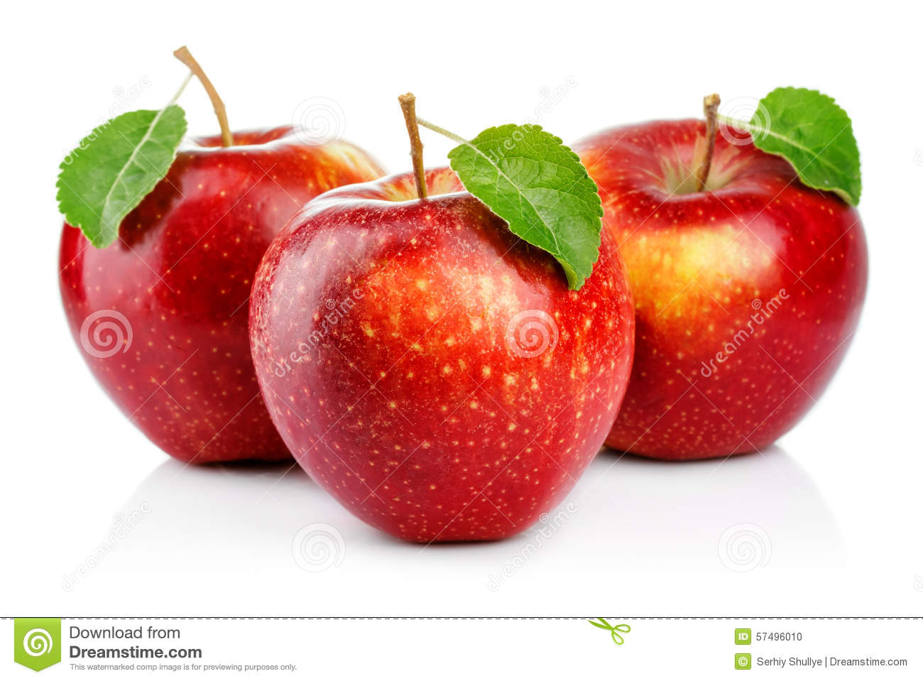 Three red apples with leaf isolated on a white