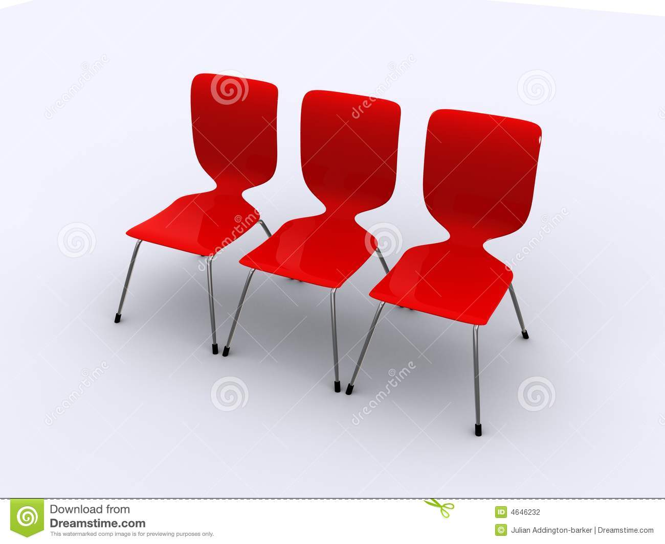 Three Red Chairs In A Row Stock Photography Image 4646232