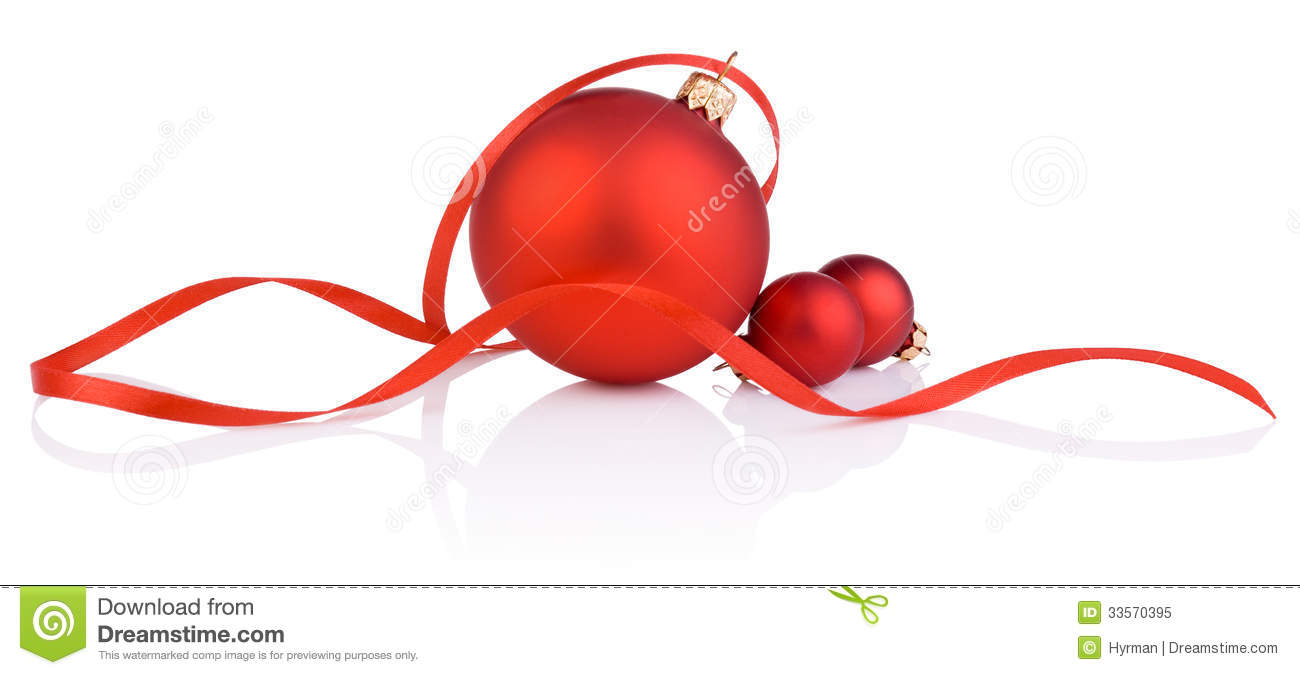 Three red christmas ball and tape on white background
