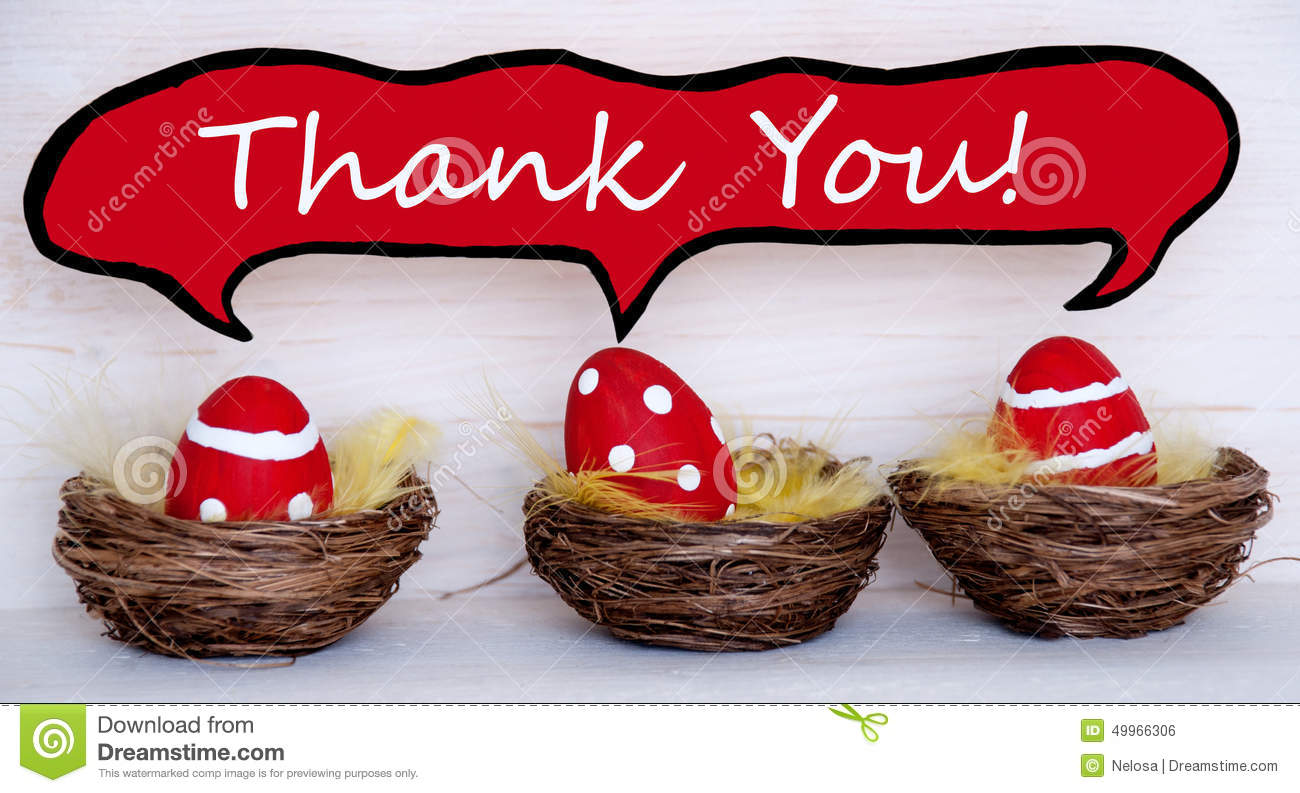 three red easter eggs with comic speech balloon with thank you stock photo
