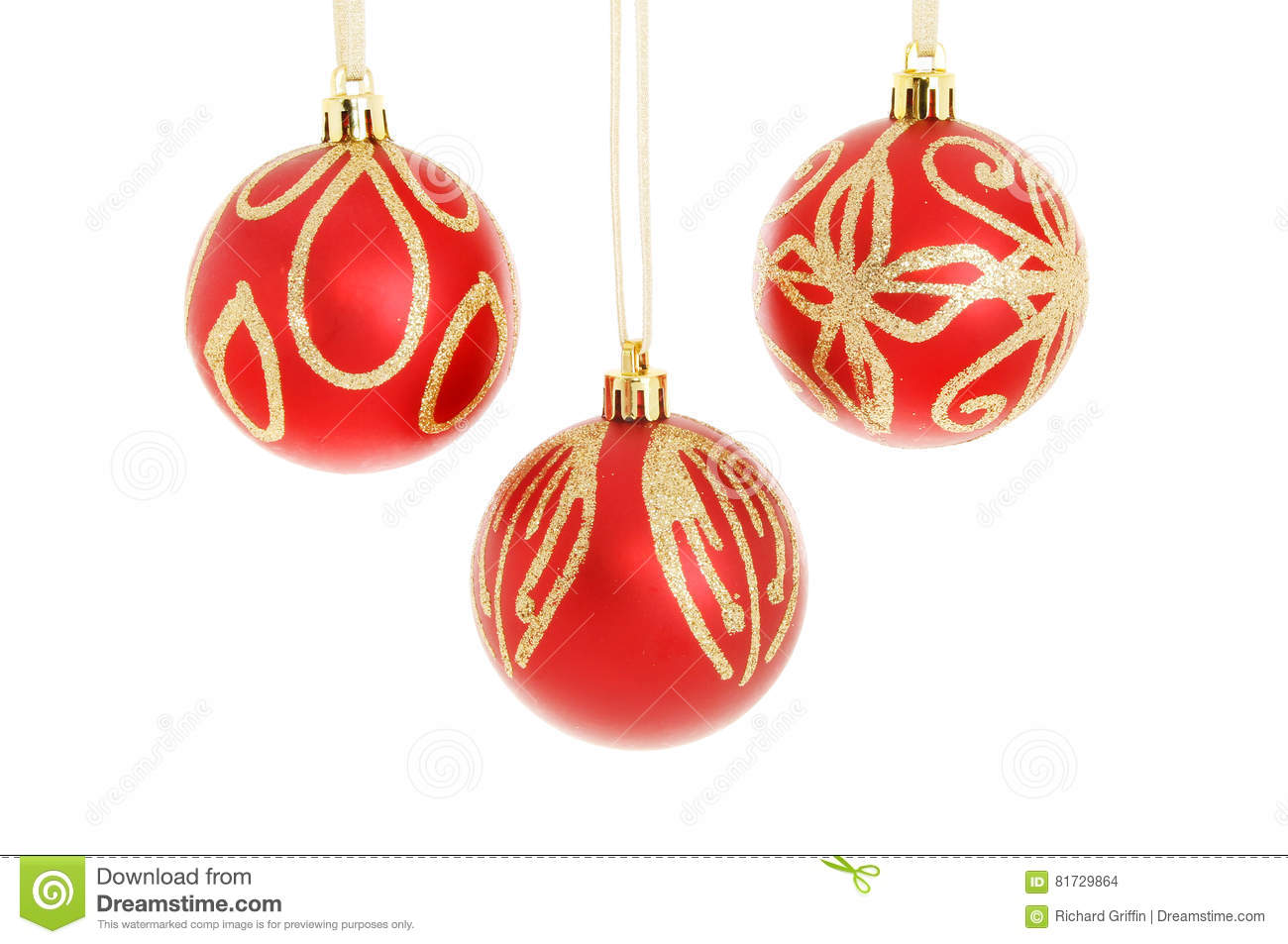 131b49f89716 Three Red And Gold Christmas Baubles Stock Photo - Image of bauble ...