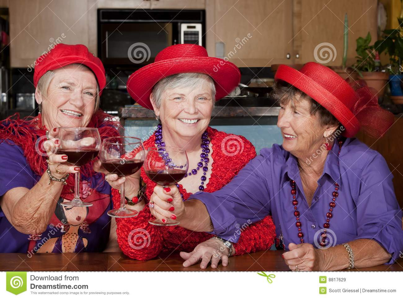 Three Red Hat Ladies Toasting With Wine Stock Image - Image of toast ... 1a6c66c106a