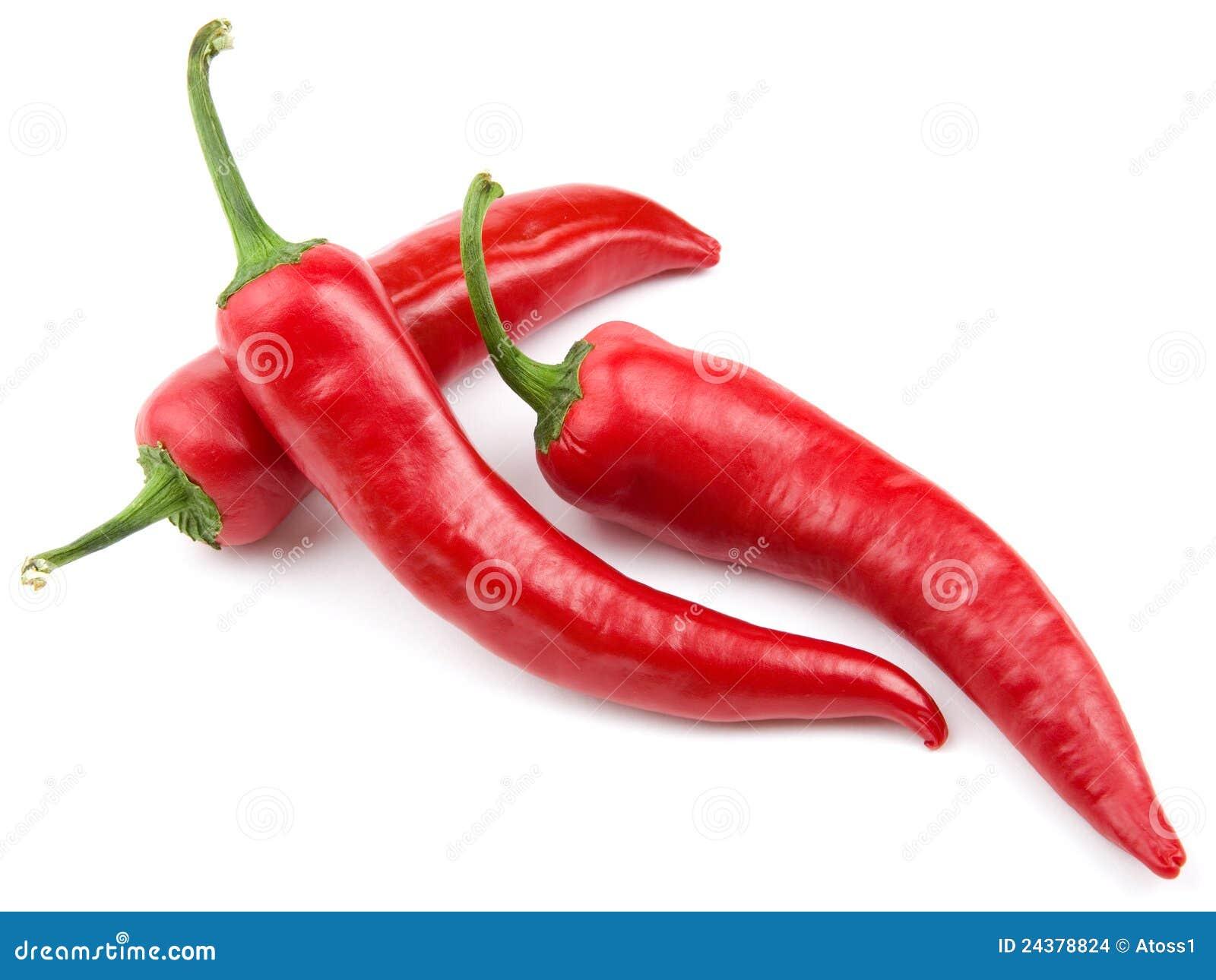 Three red hot chili pepper