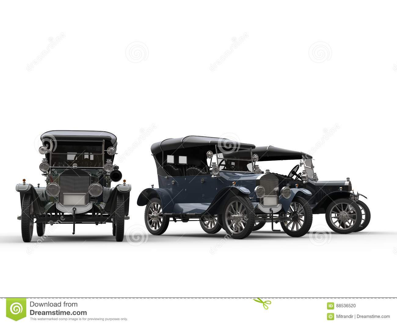 three restored vintage cars side by side stock illustration image 88536520. Black Bedroom Furniture Sets. Home Design Ideas