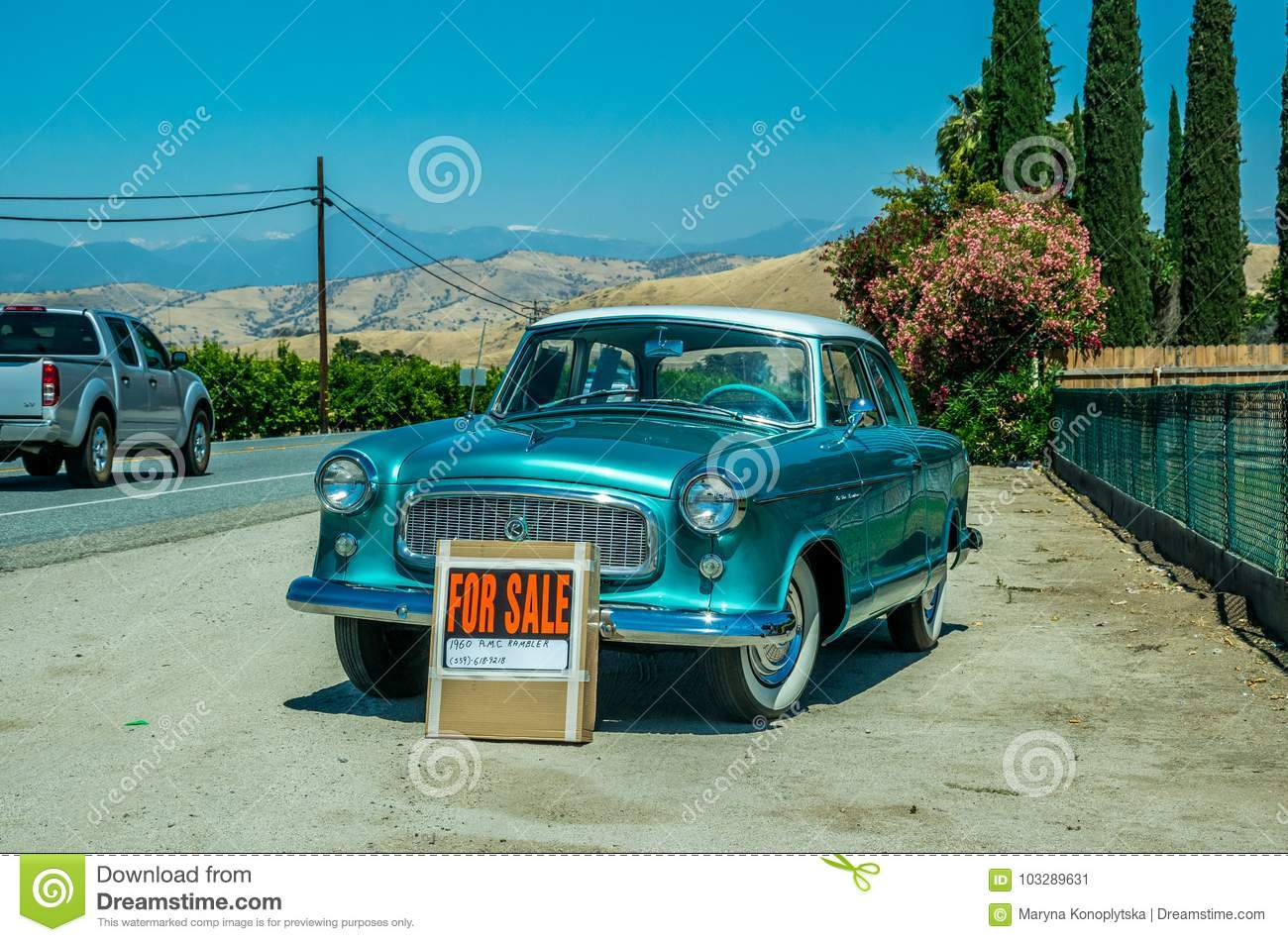 Old Car On The Roadside. Sale Of Used Cars In The USA Editorial ...