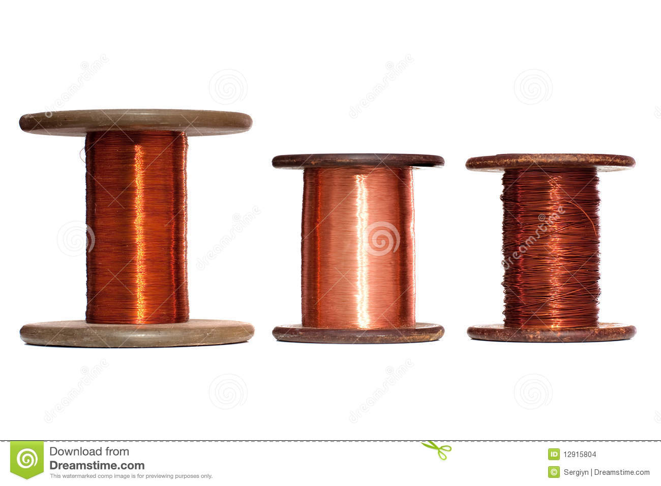 Copper Cable Rolls : Three rolls of copper wire stock photo image