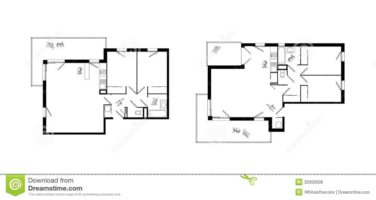 Three rooms apartment plans set stock illustration image Two room plan