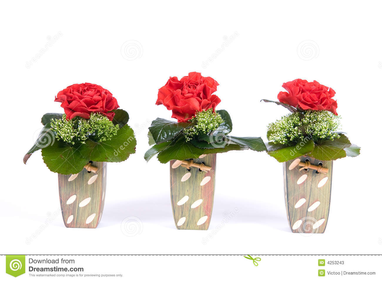 Three Roses In Bowls Stock Image Image Of Decoration 4253243