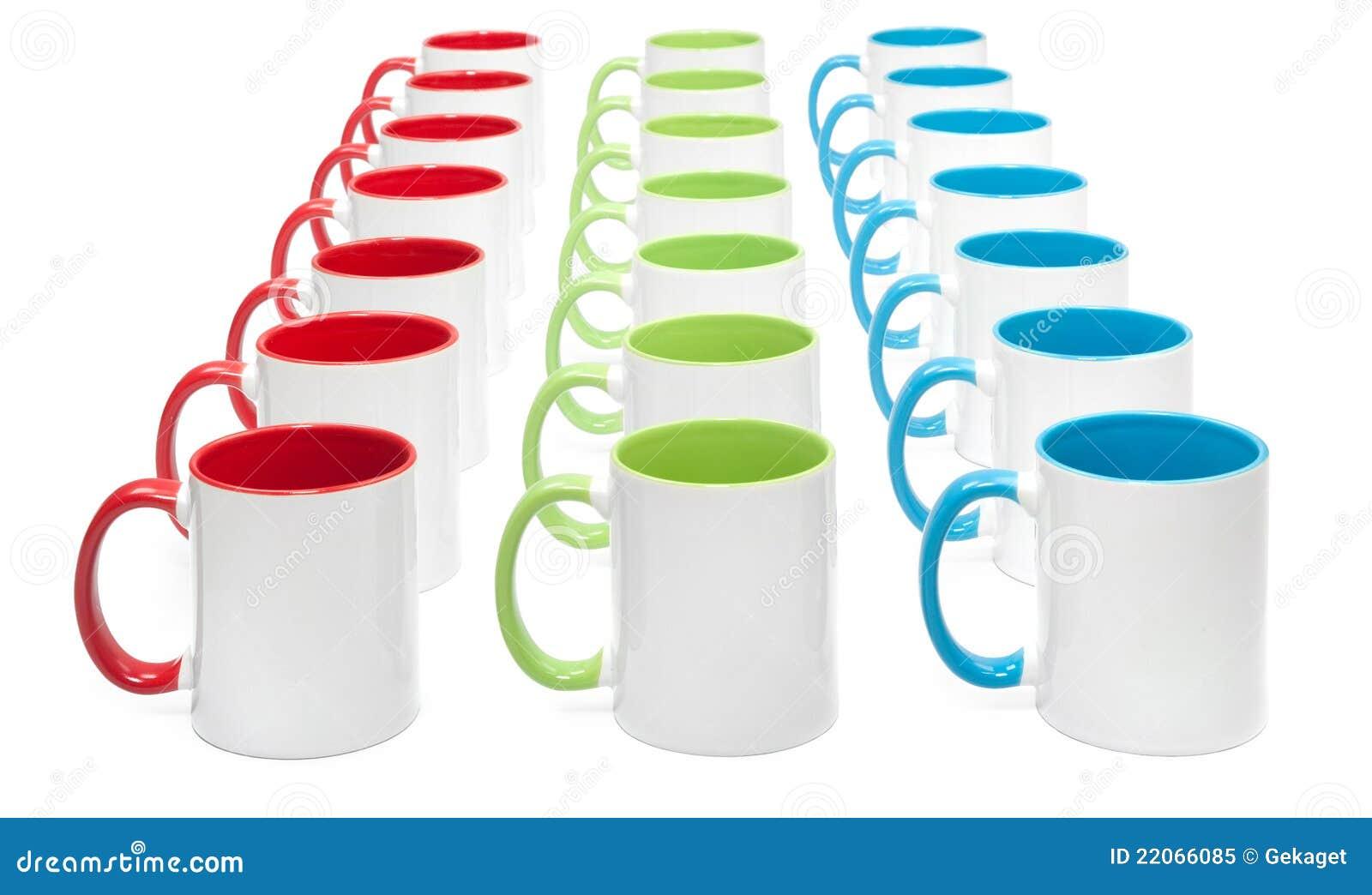 three rows of colorful mugs - Colorful Mugs