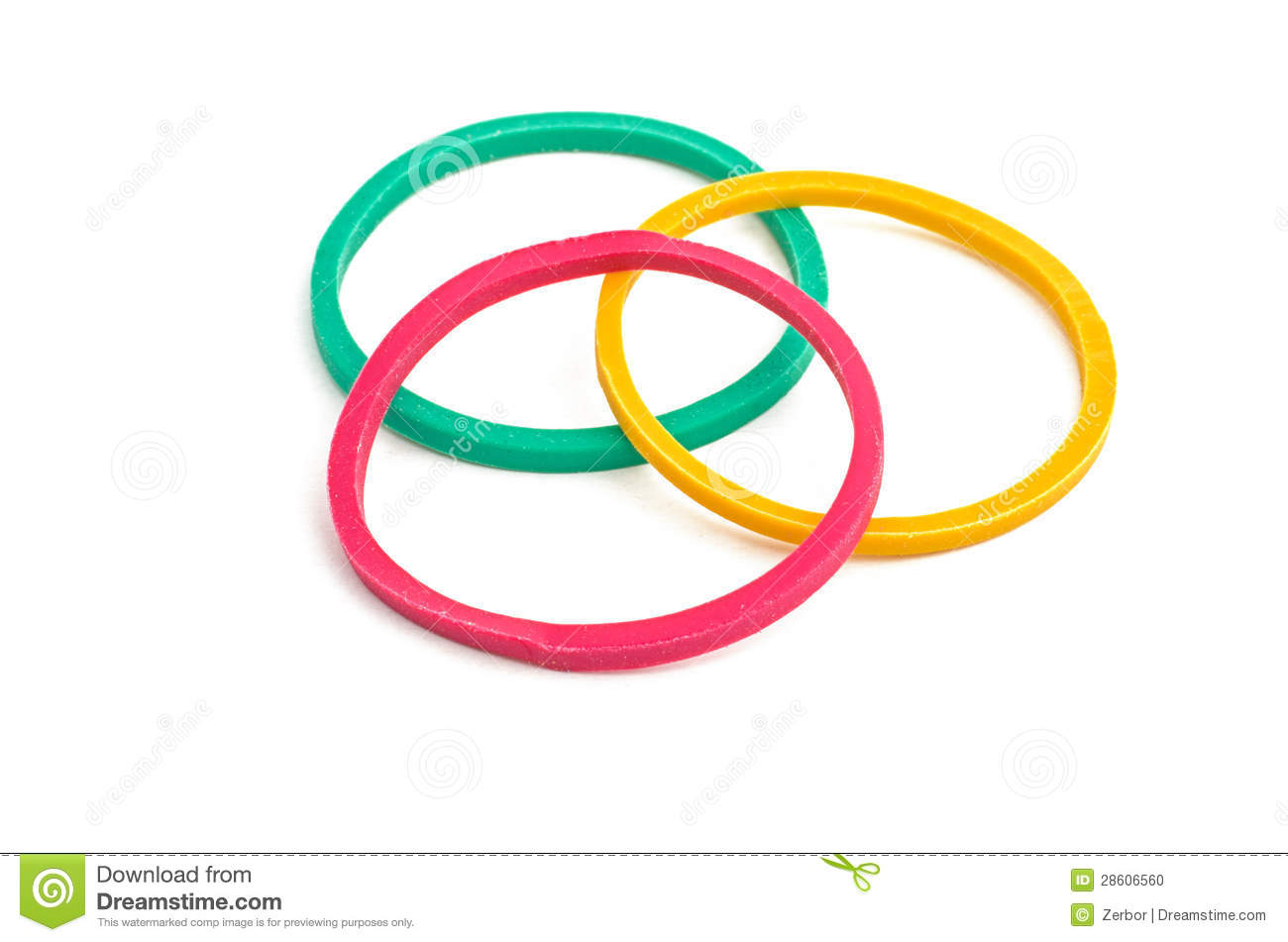 Three rubber bands