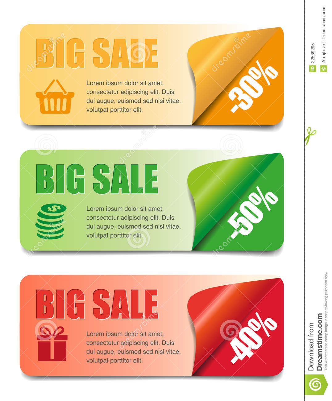 Three Sales Banners Royalty Free Stock Photo - Image: 32589295