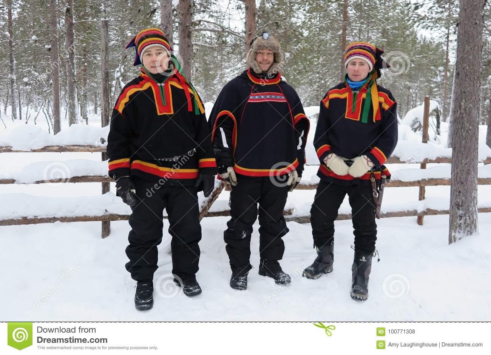 Three Sami Men In Snow In Lapland 4bfcca8d6d8
