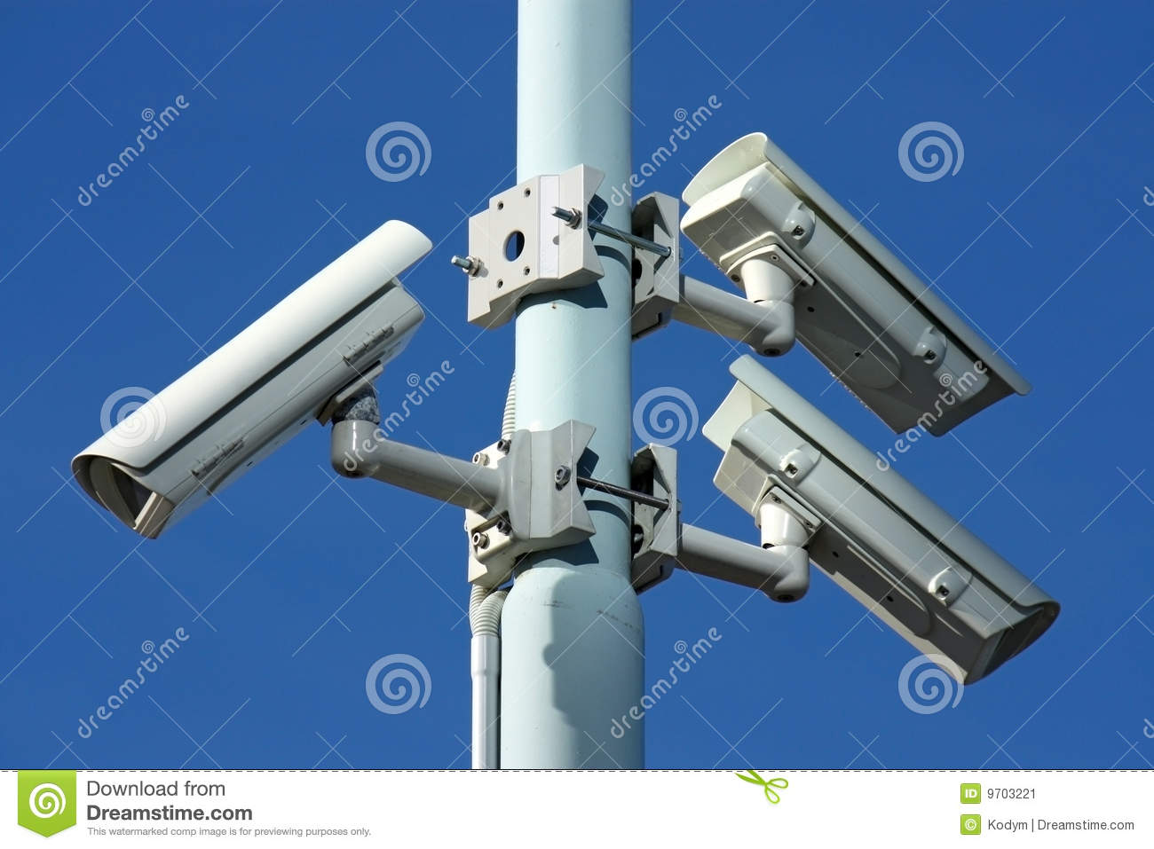 Three security cameras on power pole