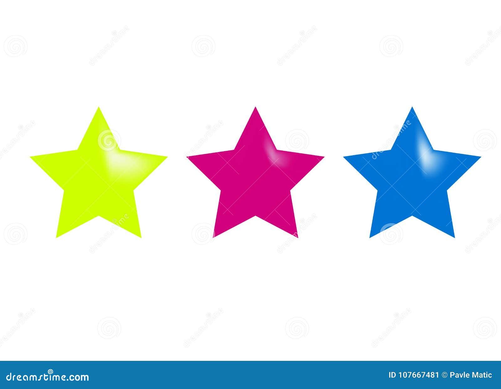 Three Shiny Glossy Stars Stock Vector Illustration Of Sign 107667481