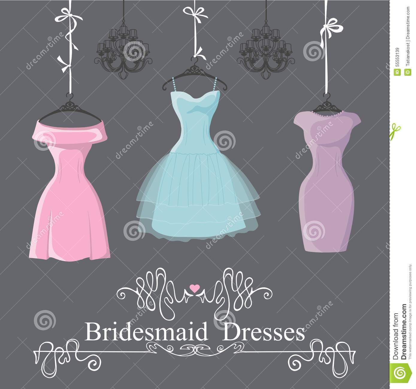 Three Short Bridesmaid Dresses Hang On Ribbons Stock Vector ...