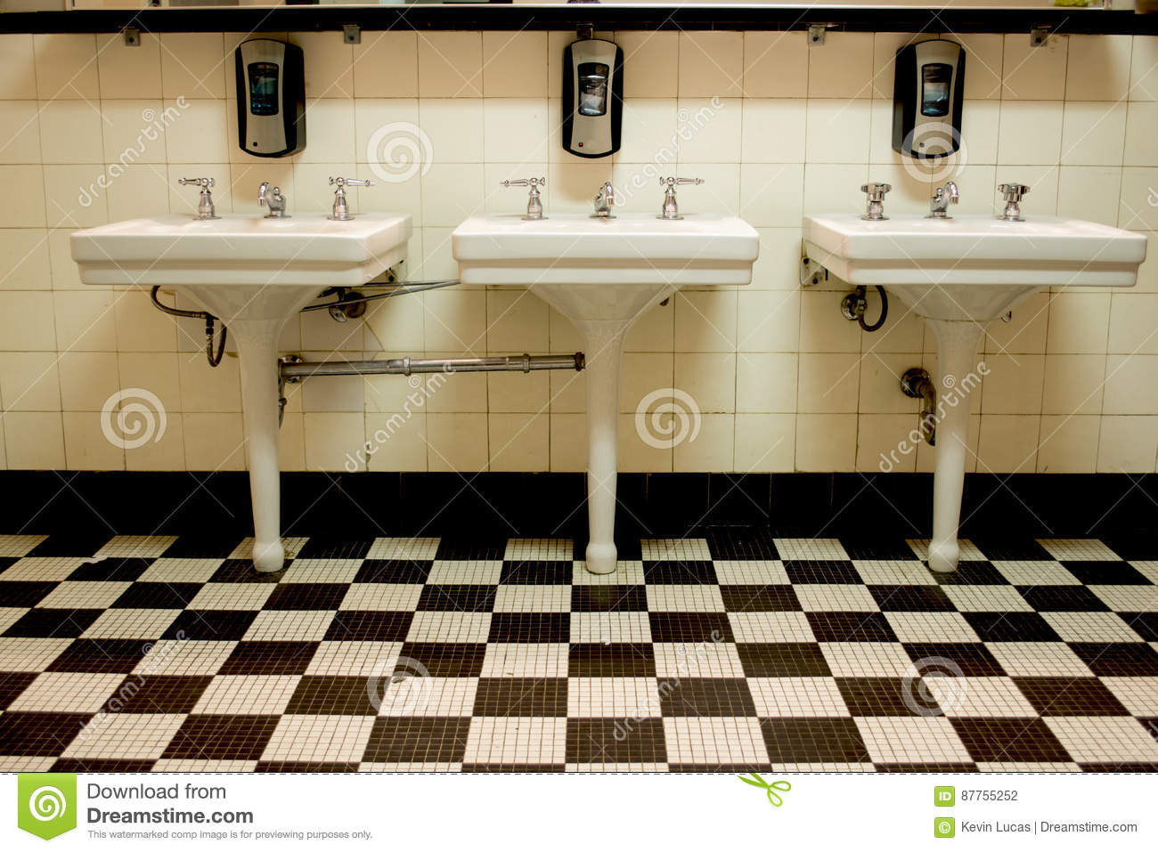 Three Sinks In Old Public Restroom Stock Photo Image Of Checkerboard Male 87755252