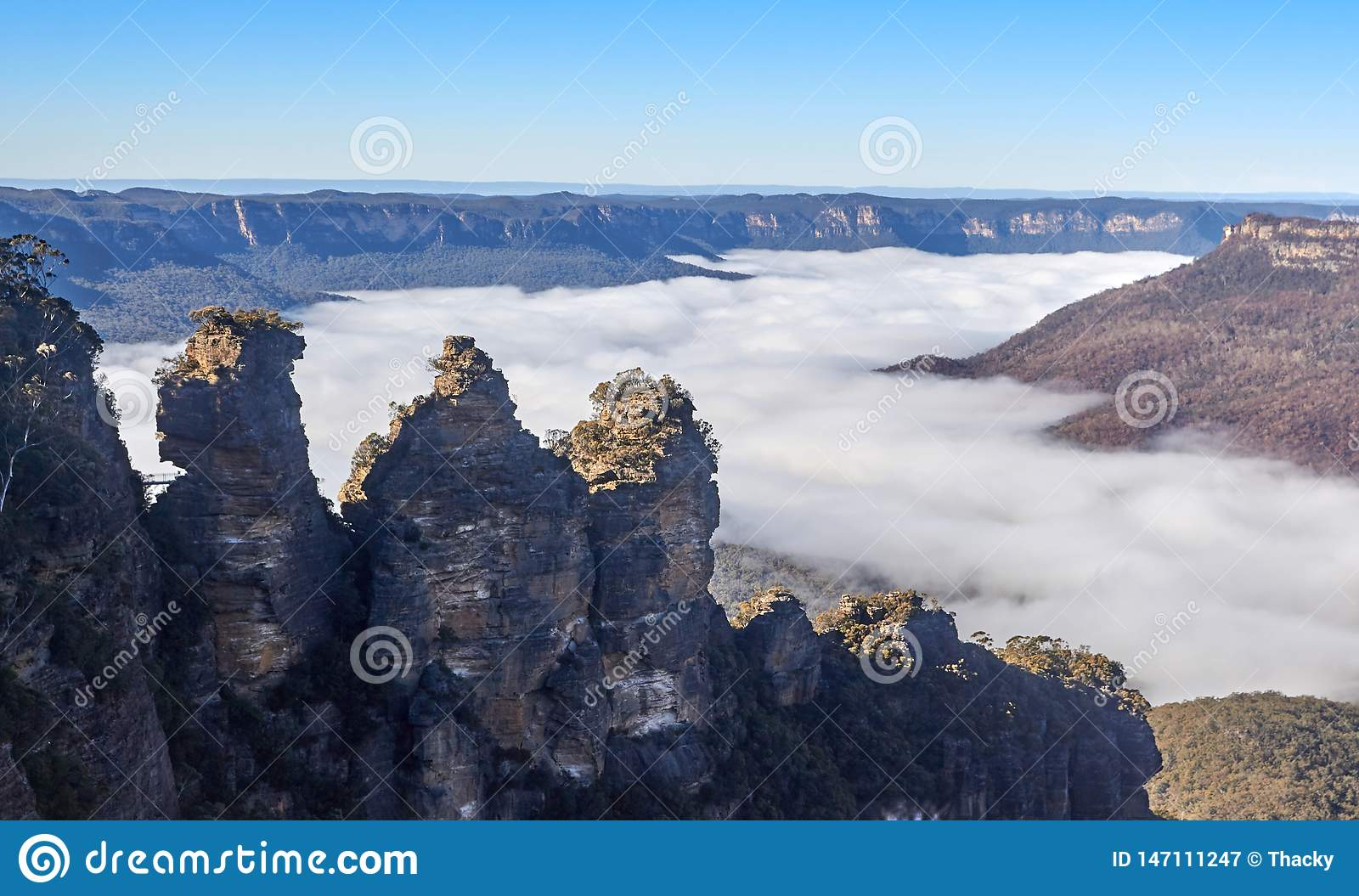 The Three Sisters above fog at the Blue Mountains Australia