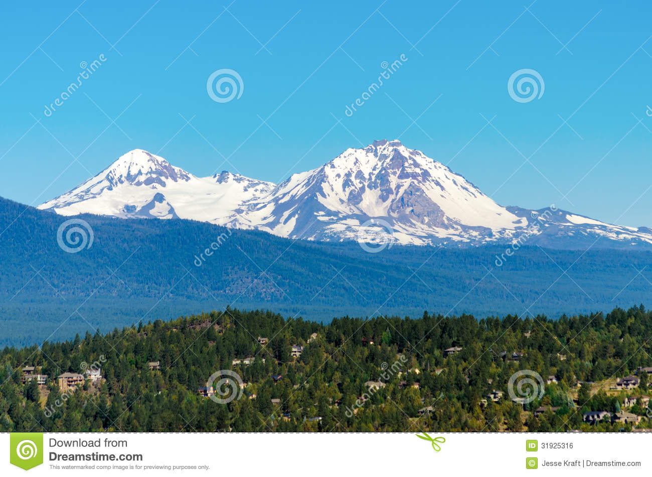 View of the snow covered three sisters mountains in the cascade range