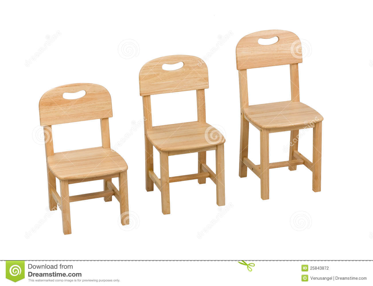 Three size of the chairs for kids stock photography for Kid sized furniture