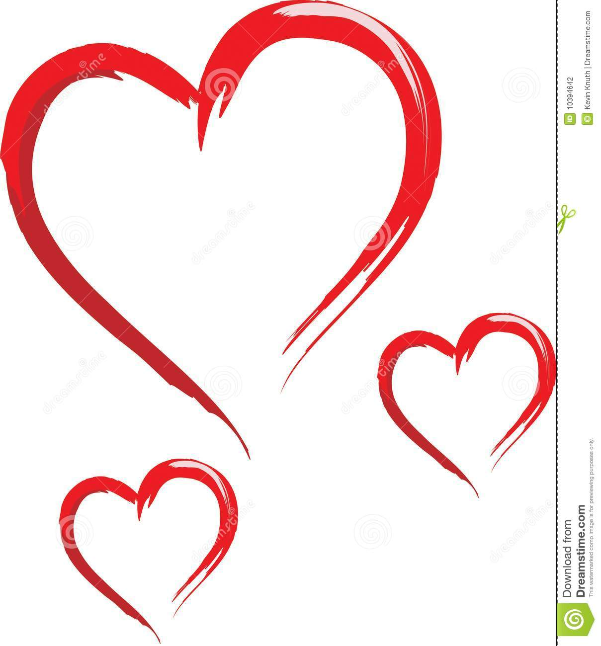 Three Sketched Hearts Stock Photography - Image: 10394642